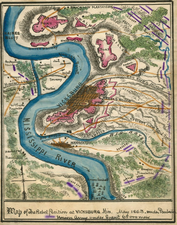 "Hand-colored map showing property owners and ""The Rebel Position at Vicksburg"