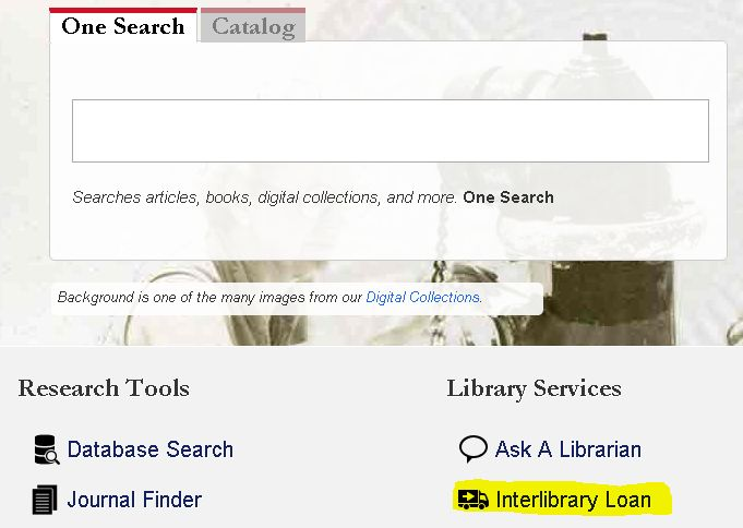 interlibrary loan link is beneath search box on the library's homepage