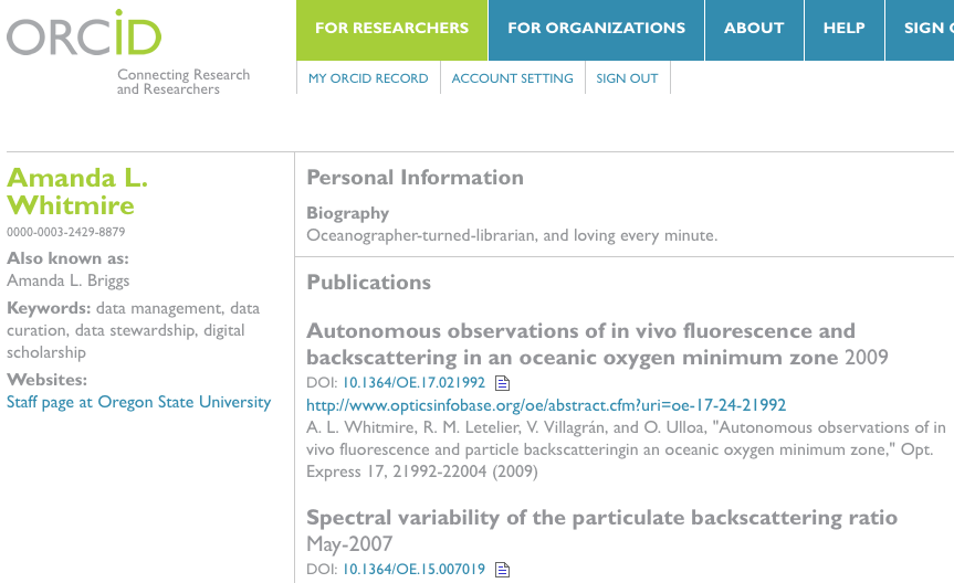 example of an ORCID page
