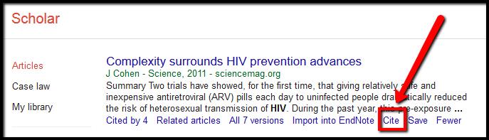 image of citaton option in Google Scholar