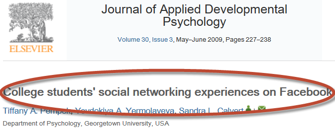 sample academic journal article with title circled