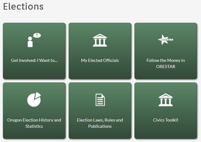 snapshot of Elections page on Oregon Secretary of State website