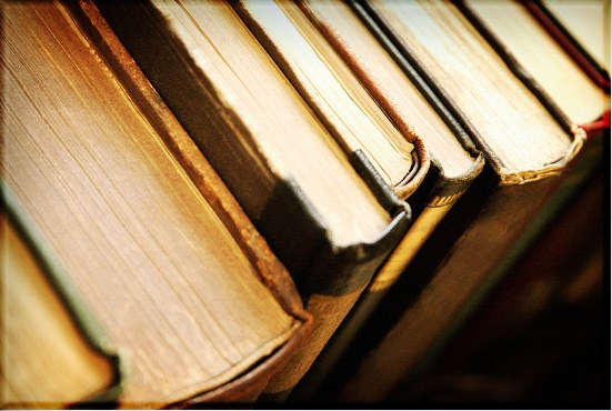 top view of books' pages