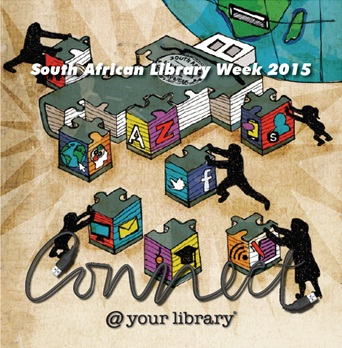 South African Library Week 2015 logo: Connect at your library