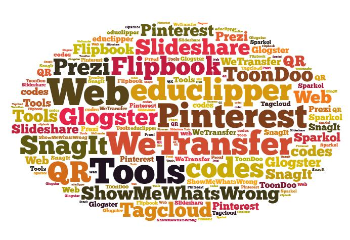 tag cloud with names of web 2.0 tools: prezi, flipbooks, glogster, slideshare, wetranswer, sparkol, showmewhatswrong, pinterest, educlipper, snagit, qr codes