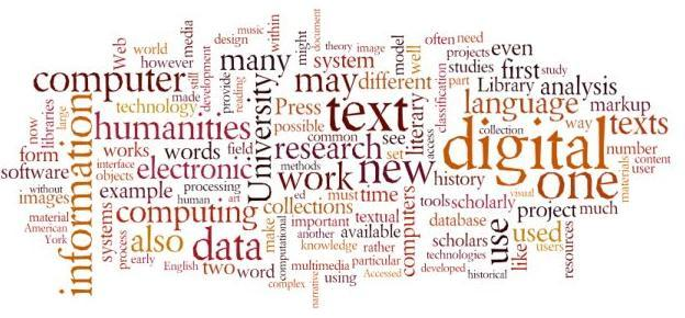 syllabus, Exploring Digital Humanities, based on word frequency from A Companion to Digital Humanities, Blackwell 2008