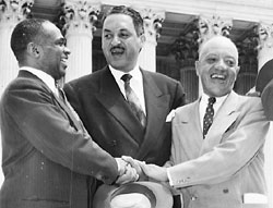 Hayes, Marshall, and Habrit celebrate Brown v. Board decision