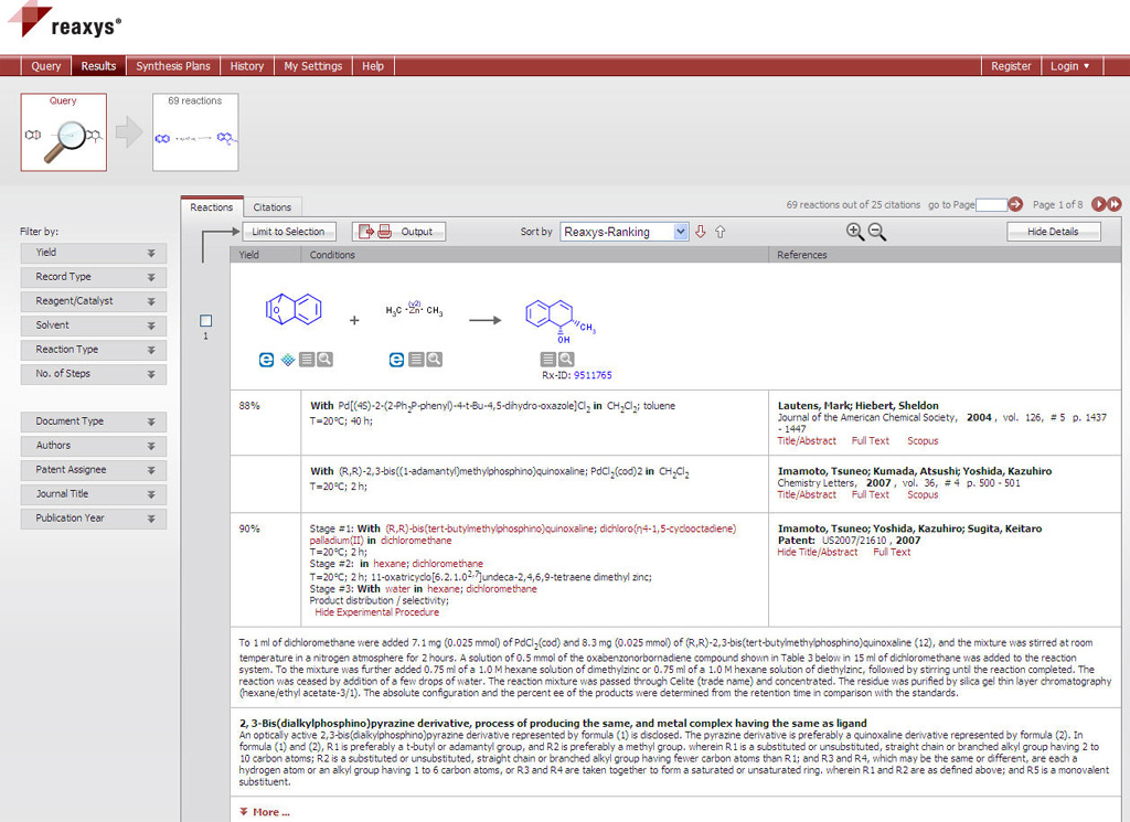 Screenshot of a reaction profile in Reaxys