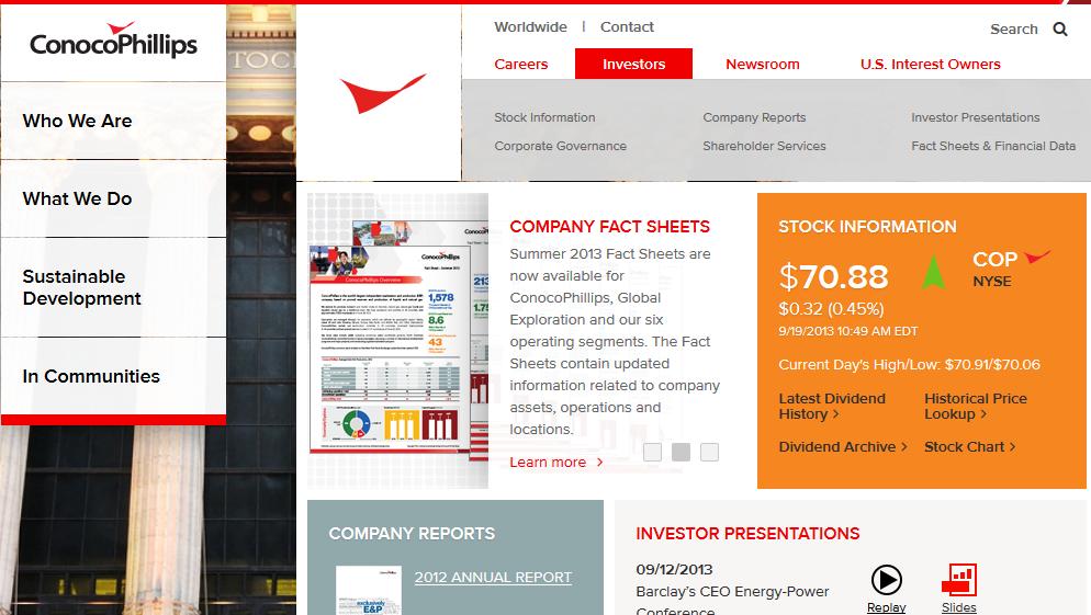 conoco phillips corporate website