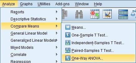 Analyze > Compare Means > One-Way ANOVA
