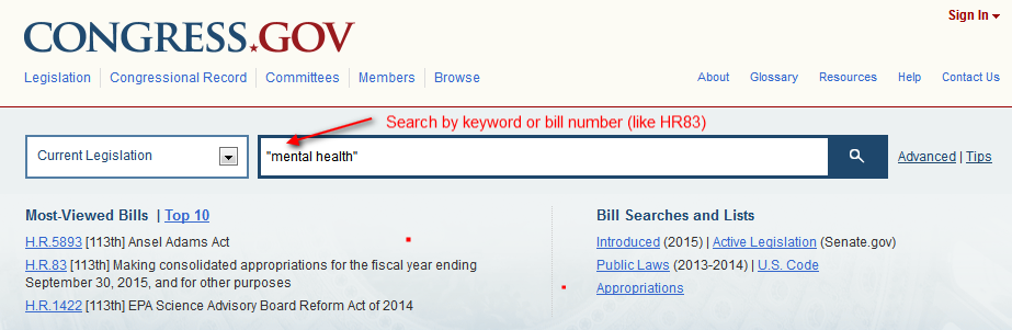screenshot of congress.gov search