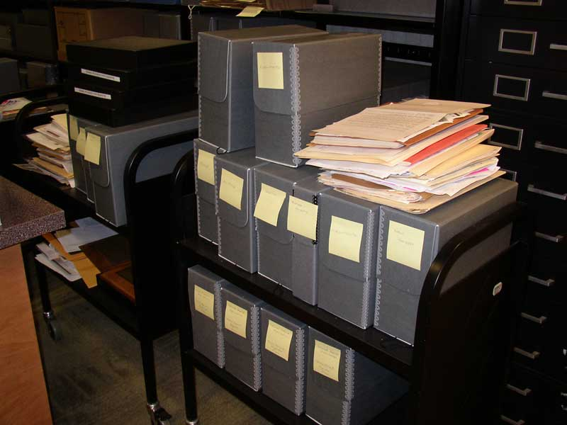Manuscript boxes on a cart