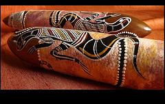 Indigenous Australian wooden musical instruments decorated with lizard dot painting