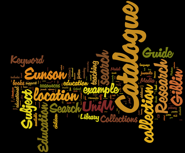 world cloud of library terms related to services and collections