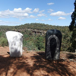Stone Axes carved representing the Aboriginal Stone Axe and the european axe technology created by Ken Hutchinson