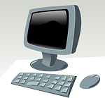 image of a personal computer (PC) with key board and mouse