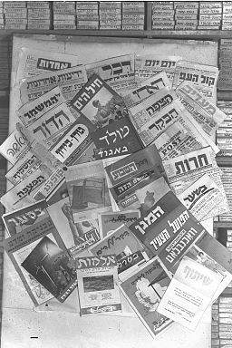 photo image of various Hebrew and Yiddish Newspaper publications on billboard