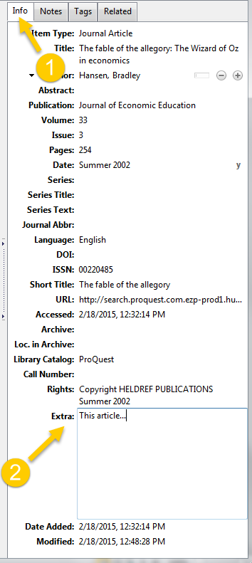 Creating an annotated bibliography