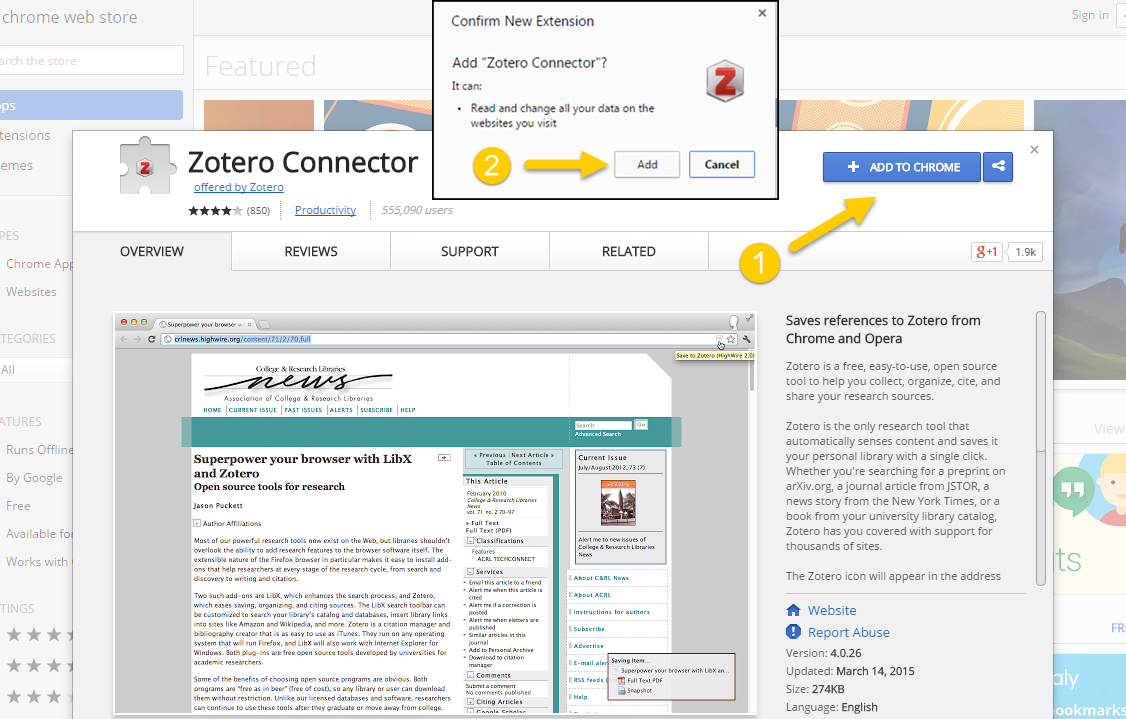 Downloading Zotero Extension for Chrome