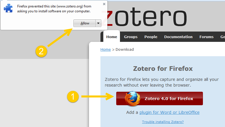 Downloading Zotero for Firefox at zotero.org