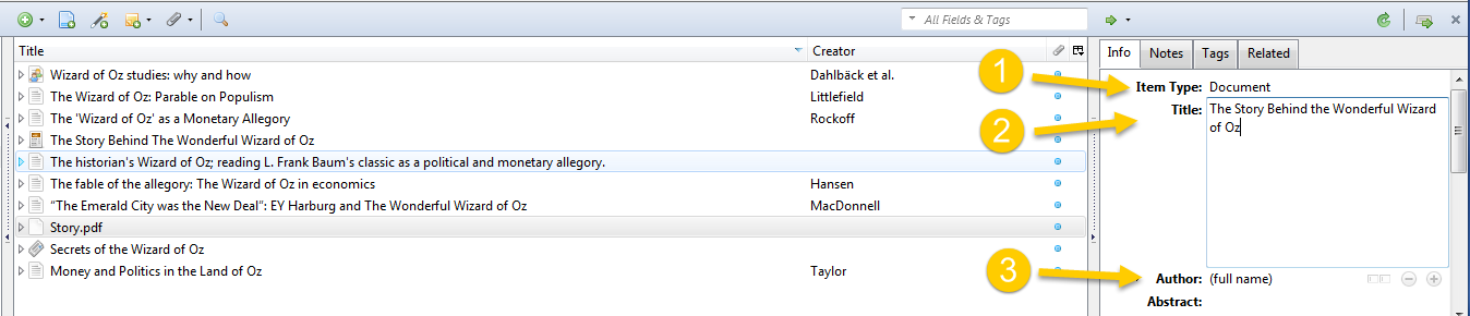 Entering metadata manually