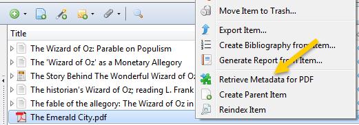 Retrieving metadata for pdfs