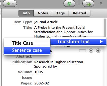 Transforming text to sentence case