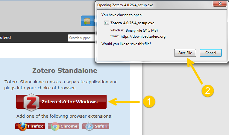 Downloading Zotero Standalone
