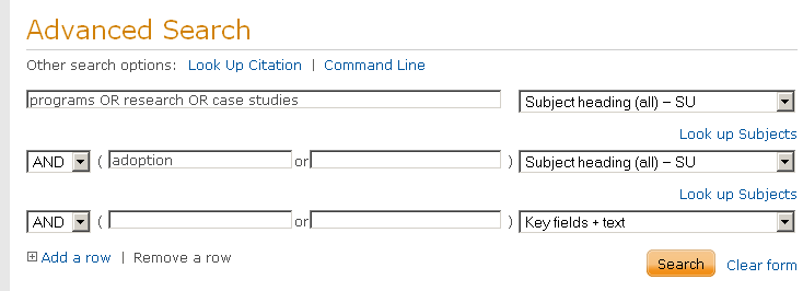 combo boxes for subject headings