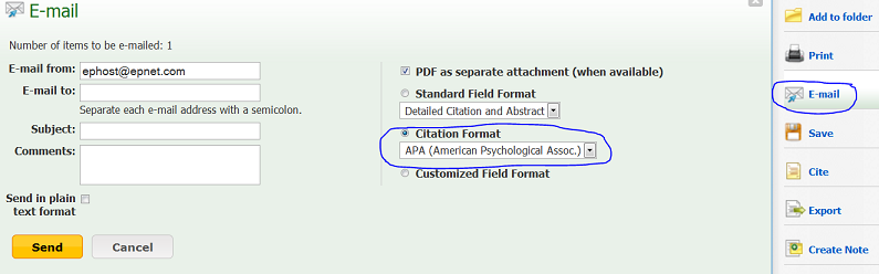 "radio button for ""citation format"" selected, APA chosen in combo box"