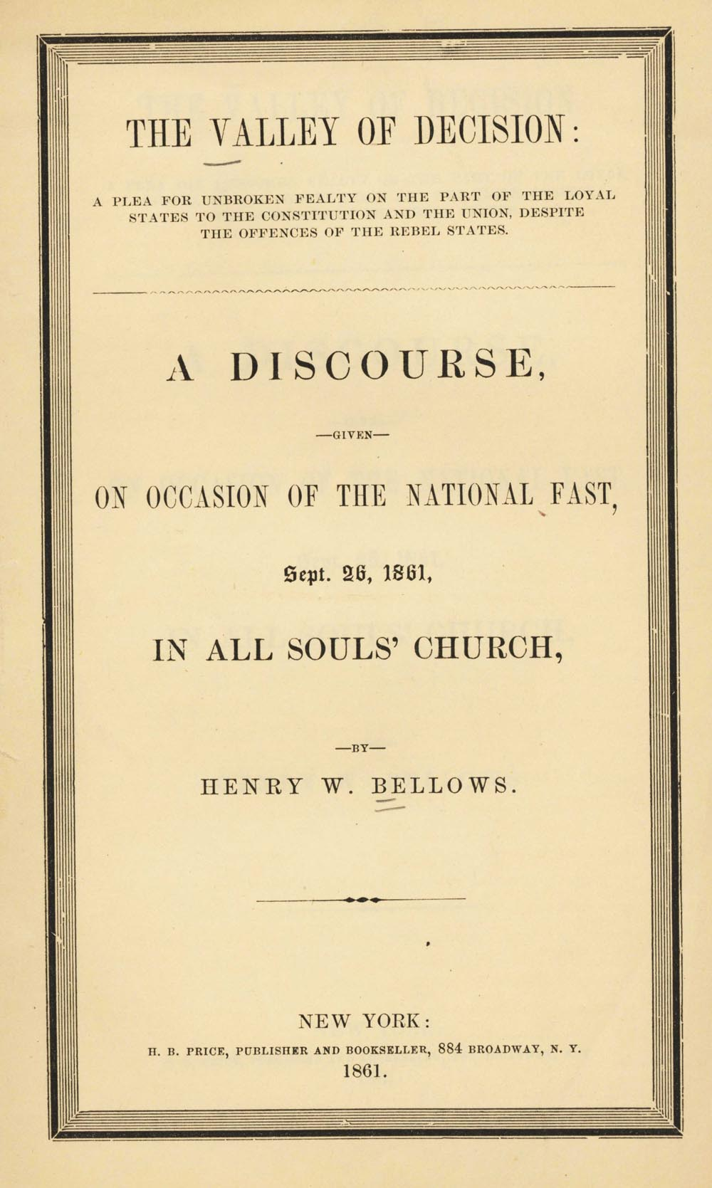 Cover of pamphlet sermon by Henry Whitney Bellows, The Valley of Decision