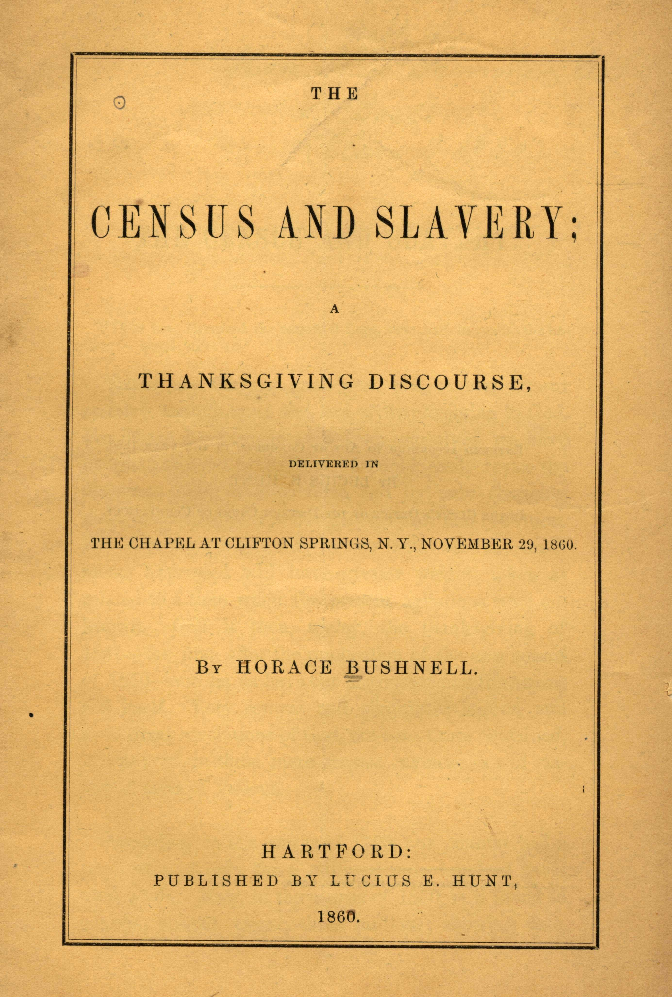Pamphlet by Bushnell, The Census and Slavery