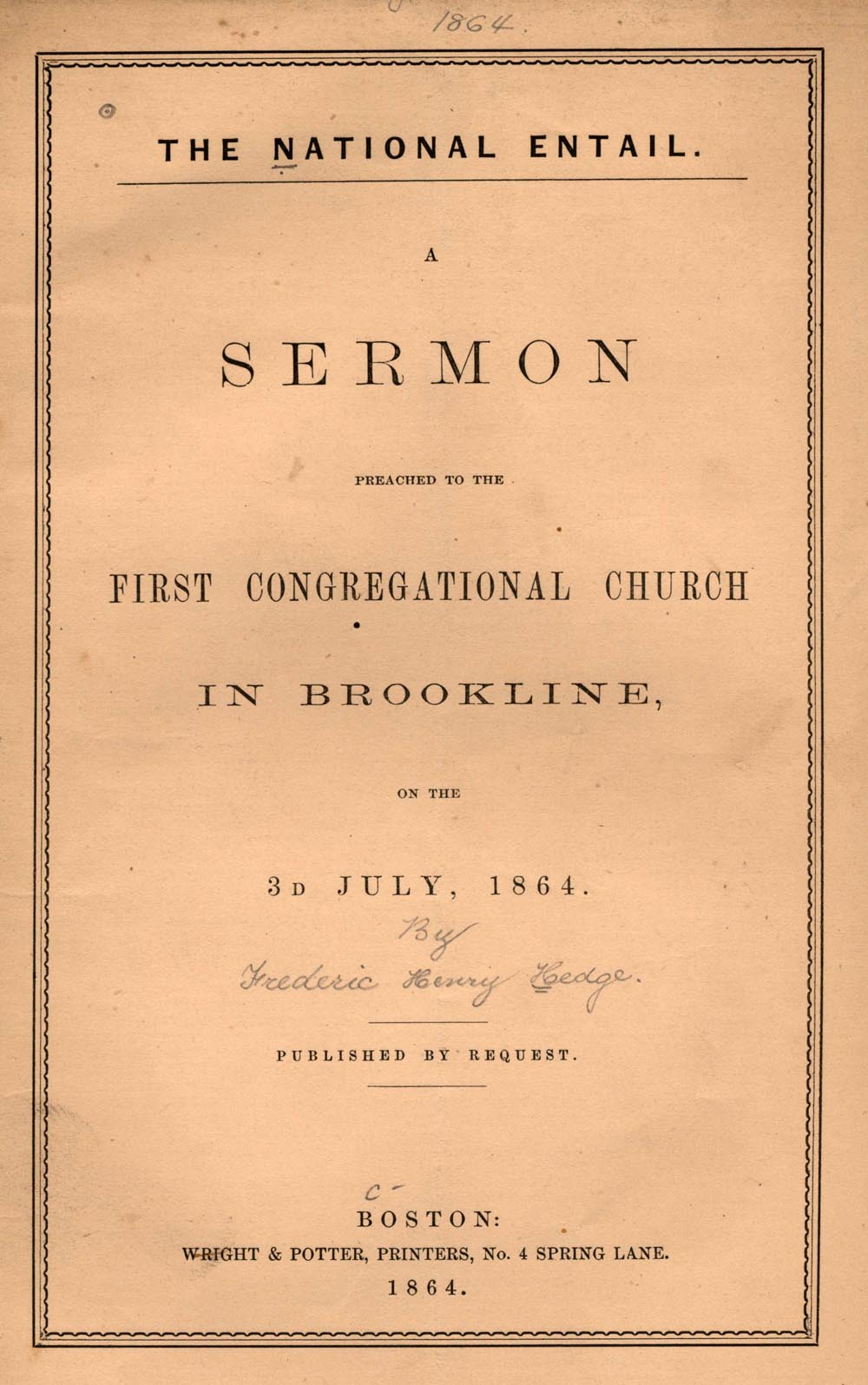 Cover of pamphlet sermon by Frederic Henry Hedge, The National Entail