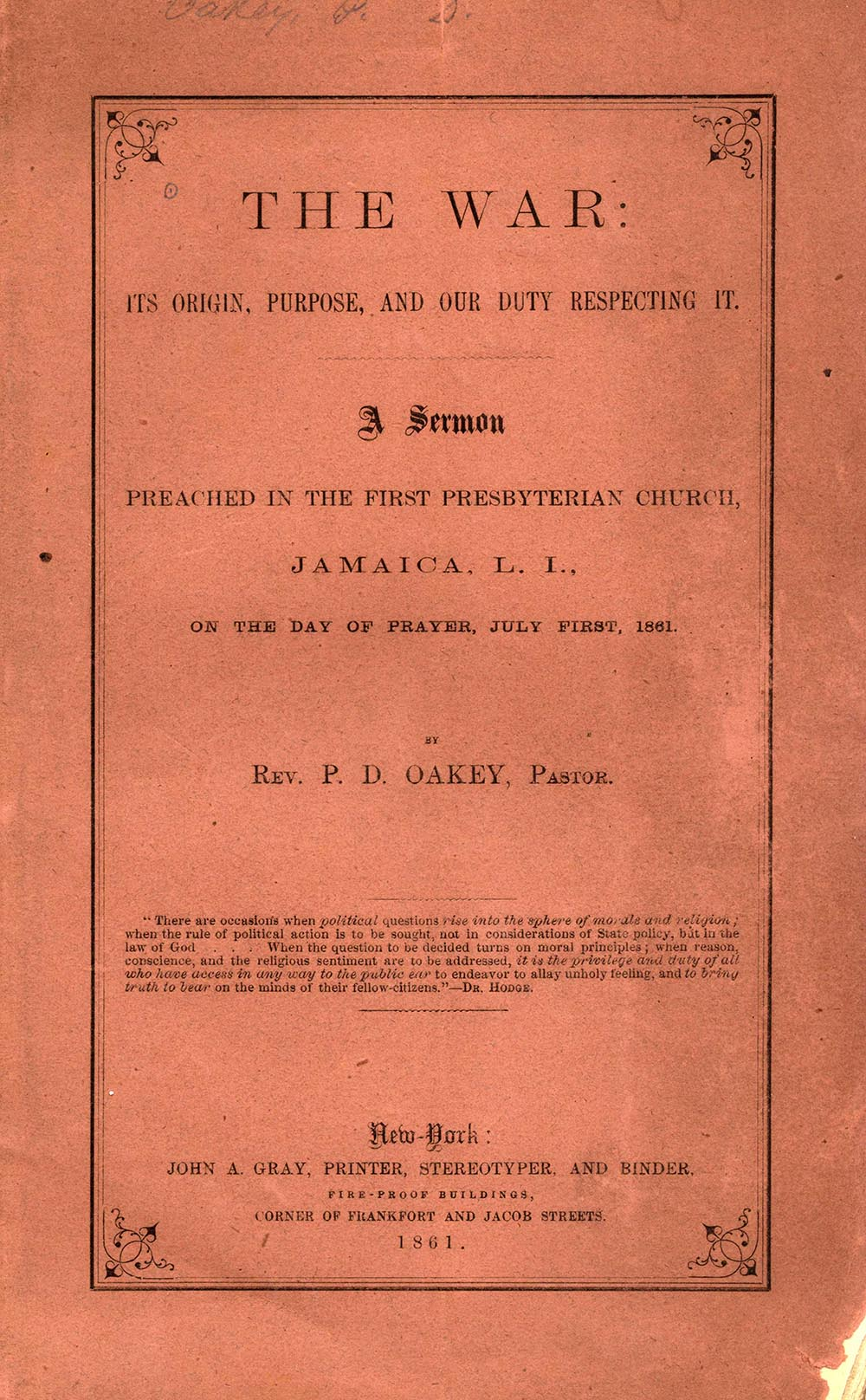 Cover of pamphlet sermon by P. D. Oakey, The War, Its Origins, Purpose