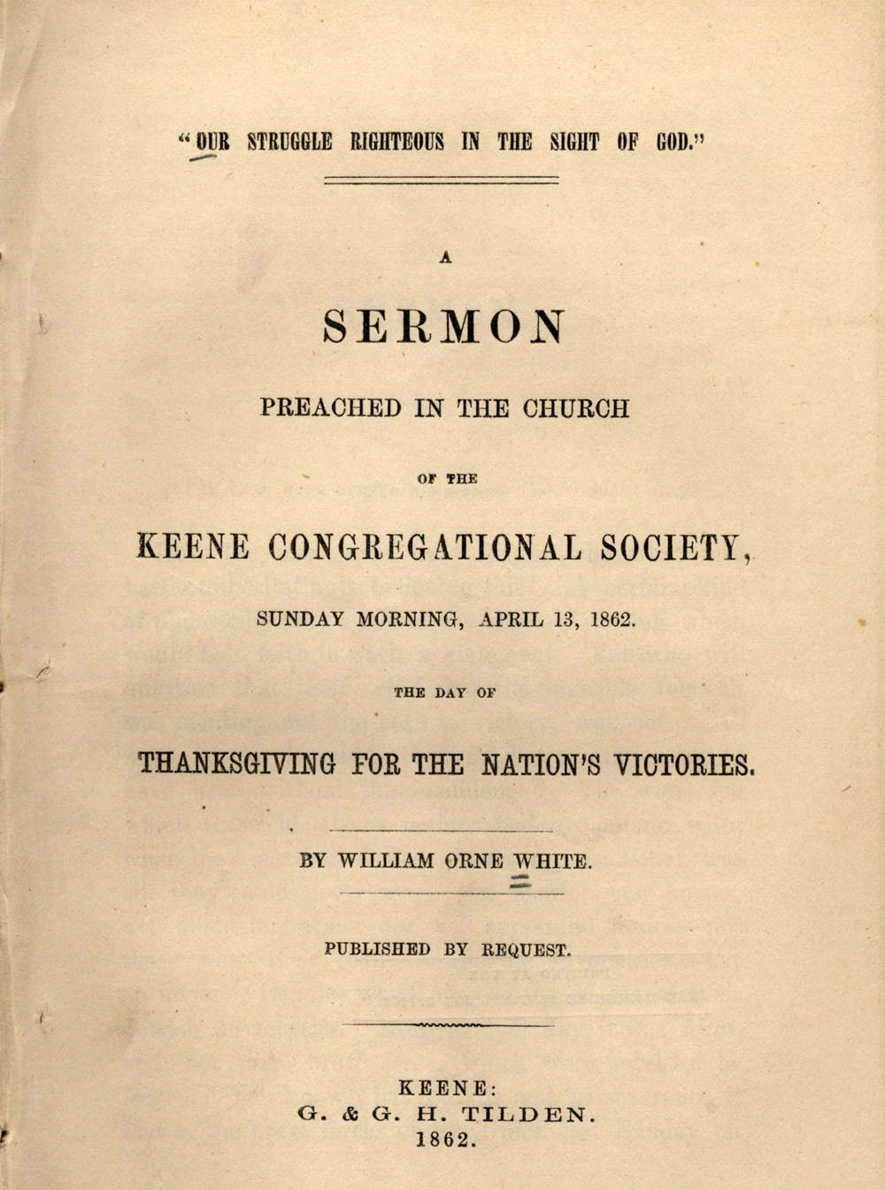 Cover of pamphlet Our struggle righteous in the sight of God by William Orne White