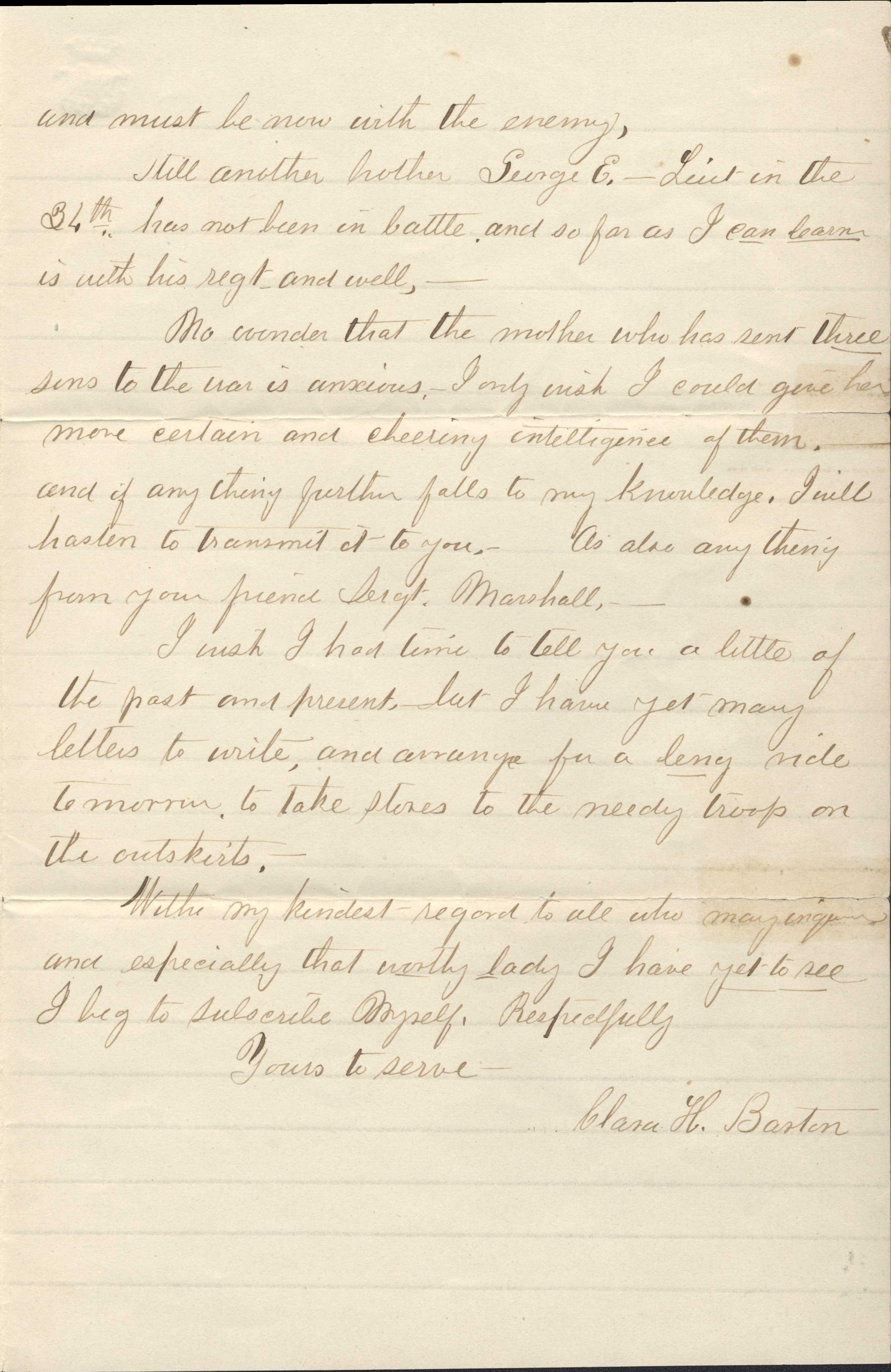 Letter from Barton to Proctor Sept.9,1862