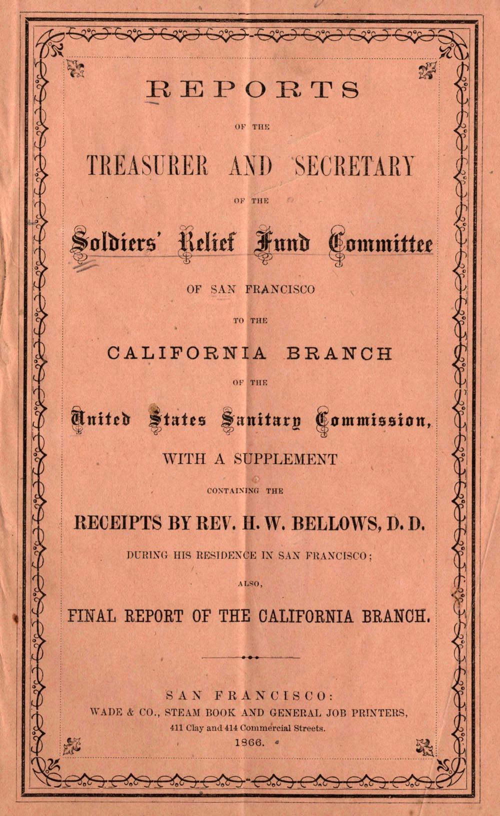 Cover: Report of the California Branch of the U.S. Sanitary Commission