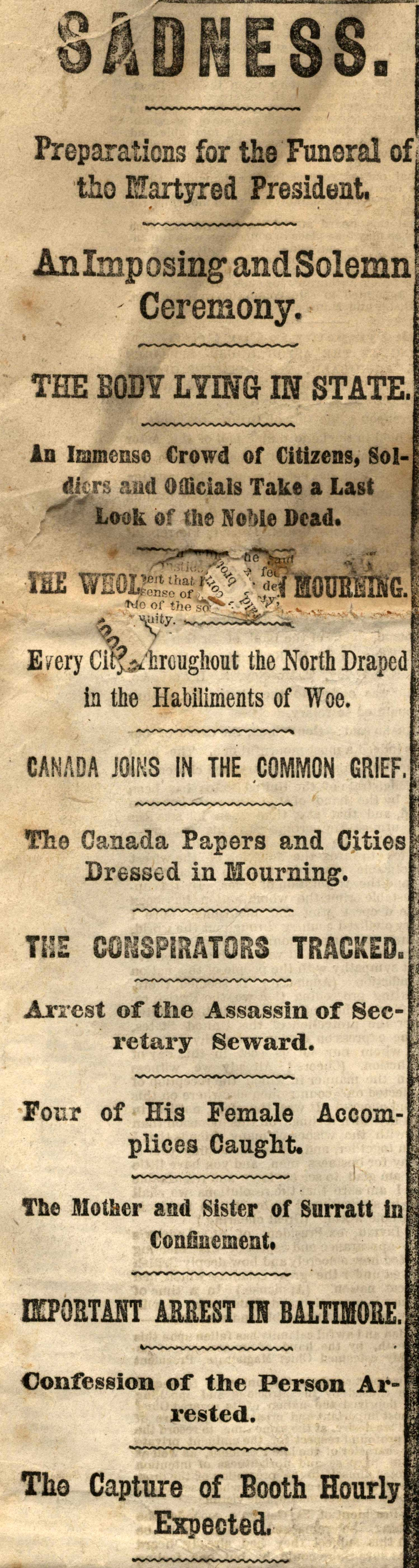 New York Herald front page sidebar April 19, 1864