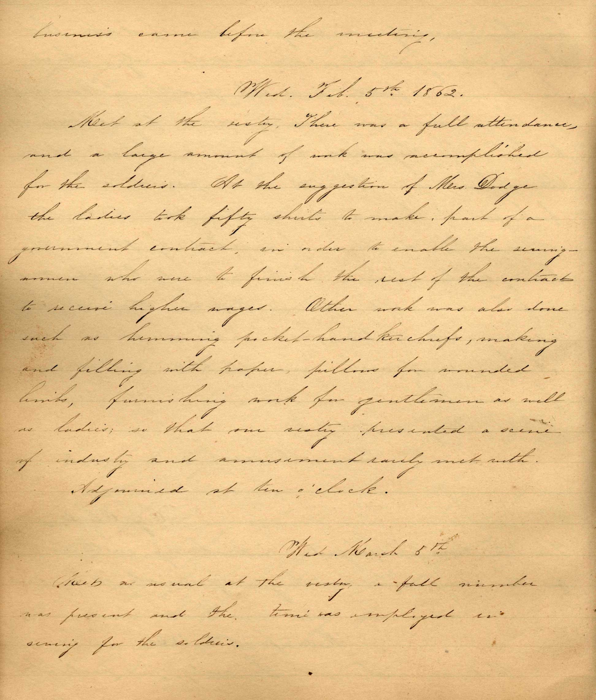 Page from handwritten records from 1862