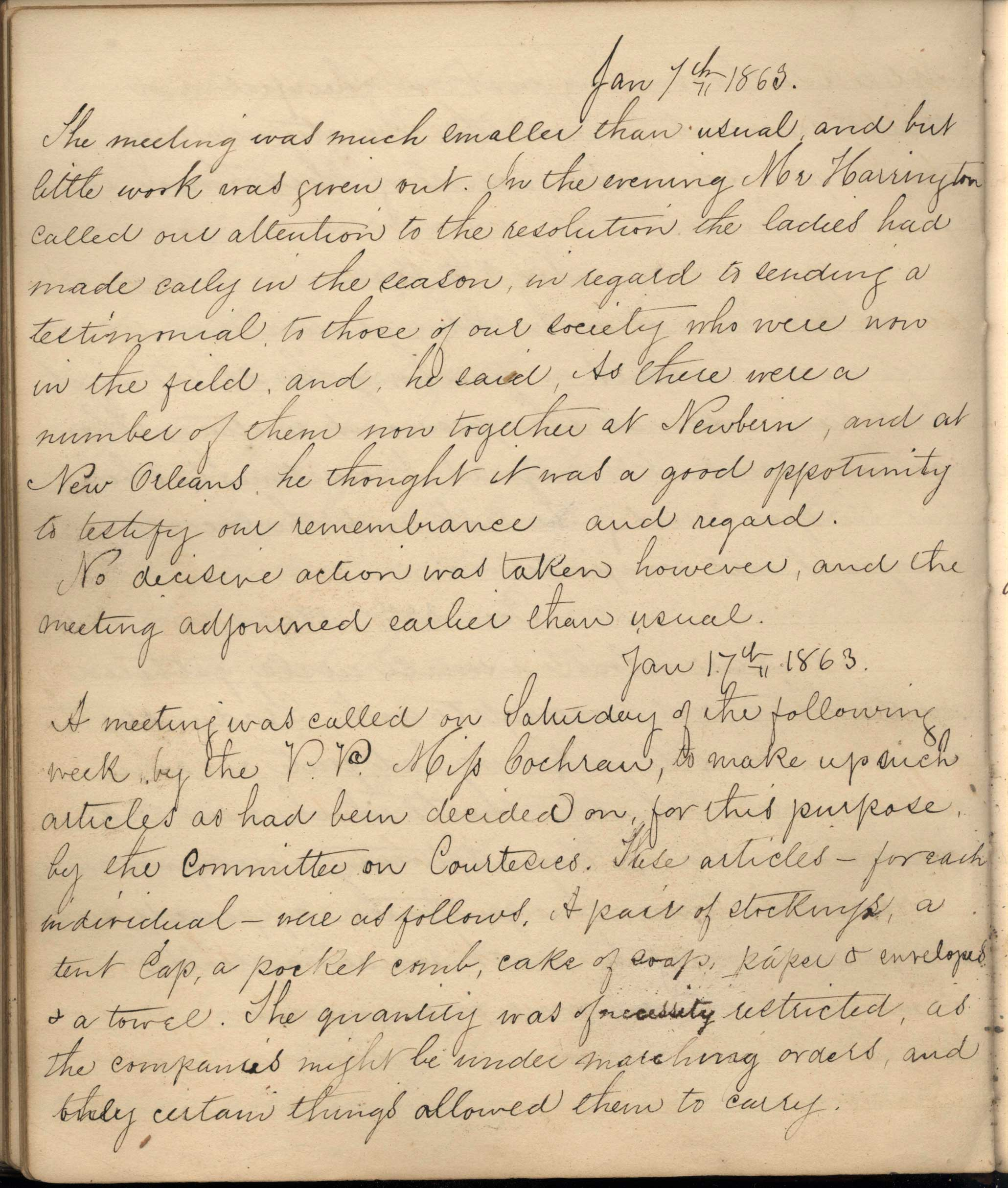 Page from handwritten records from 1863
