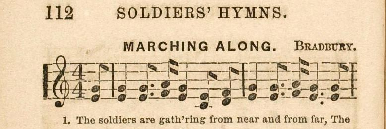 The first line of the hymn Marching Along