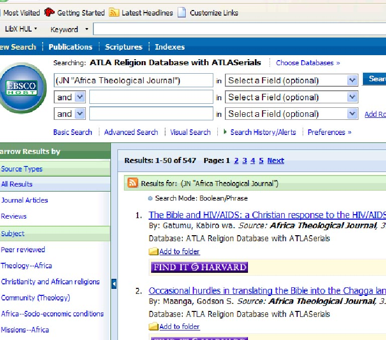 Screen shot of a search of a particular journal title