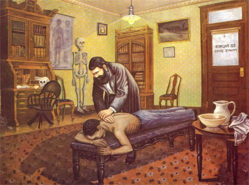 Chester Paciorek's painting of D.D. Palmer adjusting Harvey Lillard in 1895