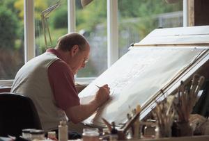 Artist Donald Jackson at work