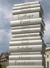 Modern Book Printing sculpture on the Berlin Walk of Ideas