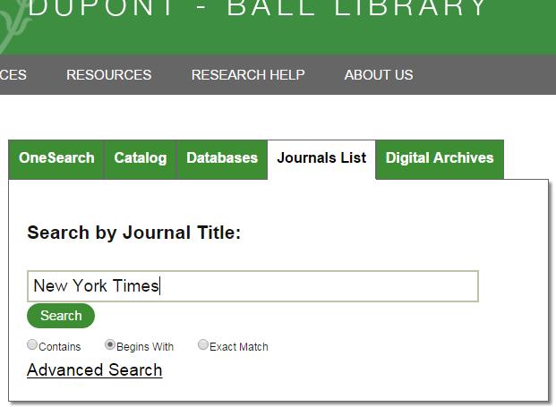 Journals List Tab