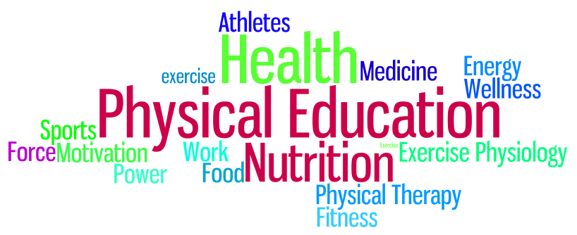 word collage of words related to health and physical education