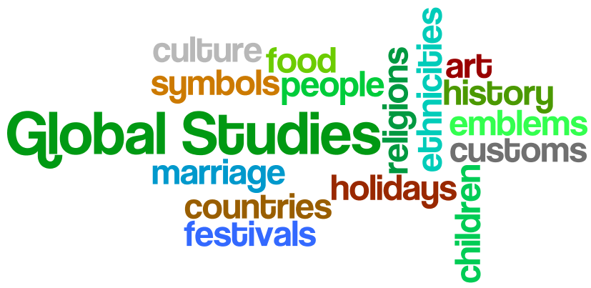 word collage of words related to global studies