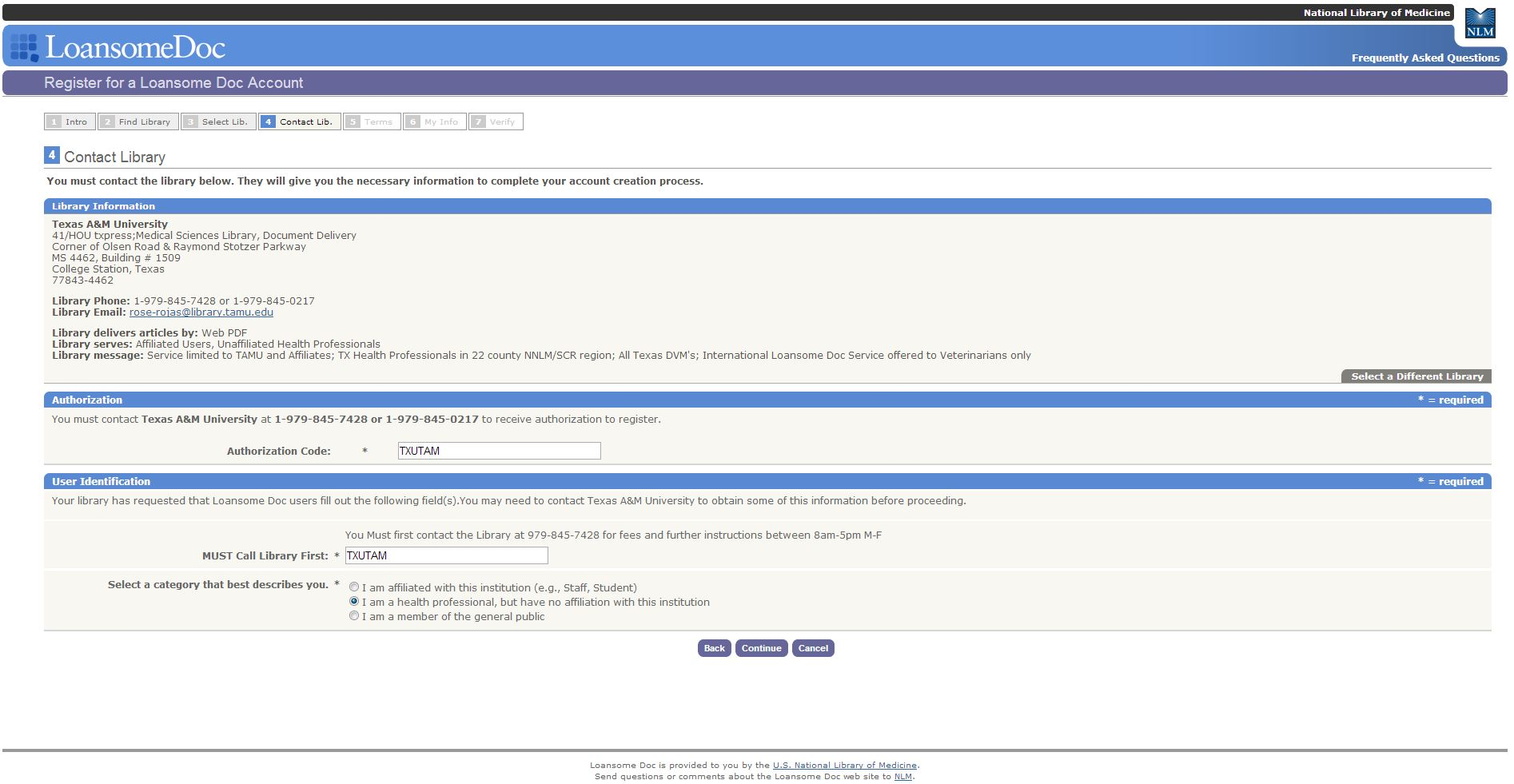 Image of LoansomeDoc authorization code and must call library first fields.