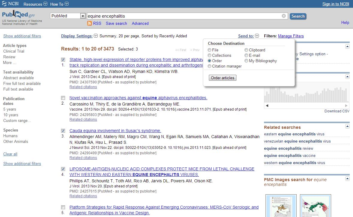 """Image of PubMed """"equine encephalitis"""" search results webpage"""